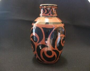 Terracotta Vase w Black Design
