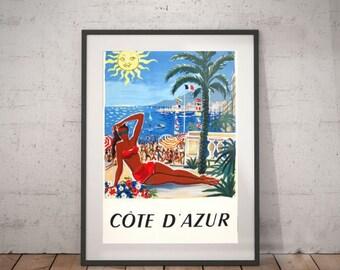 cote d'azur. cote d'azur travel poster, wall decor, vintage