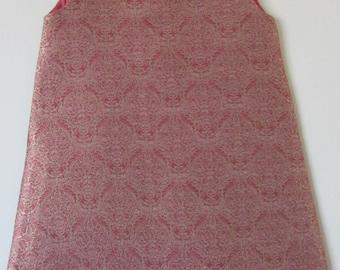 Vintage Brocade Pink Silk Dress