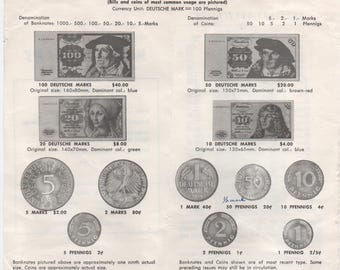Currency Conversion and Money Charts for 6 countries, 1973 - 74, West Germany, Denmark, Austria, Italy, France, Great Britain, Vintage
