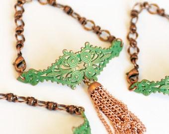 Verdigris Copper Tassel Cuff Bracelet, Green Bracelet, Tassel Bracelet, Asian Jewelry, Patina Cuff, Gift for Her, JewelryFineAndDandy, SRAJD