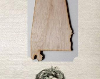 Alabama State ( Medium) Wood Cut Out - Laser Cut