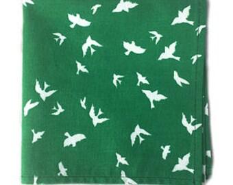 Green & White Birds Print Pocket Square, Pocket Square, Handmade Pocket Square, Mens Pocket Square, Men's Accessories, Cotton Pocket Square