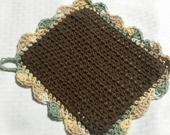 Brown Springtime Mother's Day Dishcloth Facescrubber Washcloth Cotton