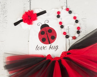 LADY BUG BIRTHDAY Outfit, Baby Girl 1st Birthday, First Birthday Outfit, Ladybug 1st Birthday Outfit, Valentine's Day Lovebug Outfit