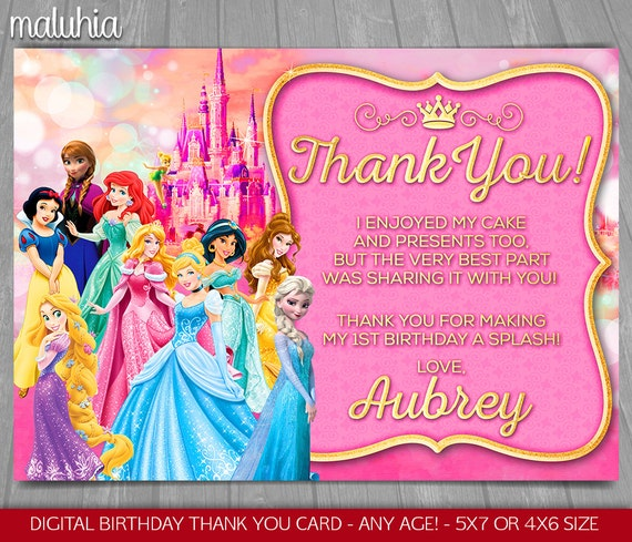 Disney Princess thank you card Disney Princesses Birthday
