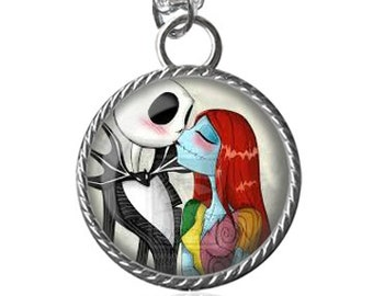 Jack and Sally Necklace, Sally and Jack, Nightmare Before Christmas Pendant Key Chain Handmade