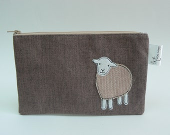 Little Pink Herdwick Sheep applique zipped pouch, pencil case, notions pouch