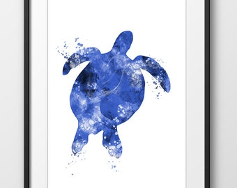 Sea Turtle Print, Nautical Turtle Painting, Turtle Watercolor Blue, Animal Watercolor, Sea Life Print, Turtle Wall Art (No A0326)