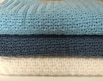 Knitted Baby Blanket, Light Blue,Country Blue, White