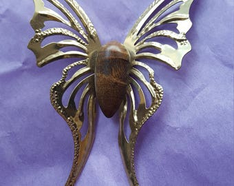 """1 - Golden, Glittery, metal butterflies with small wood body, about 4 1/2"""" tall by 3 1/4"""" wide"""