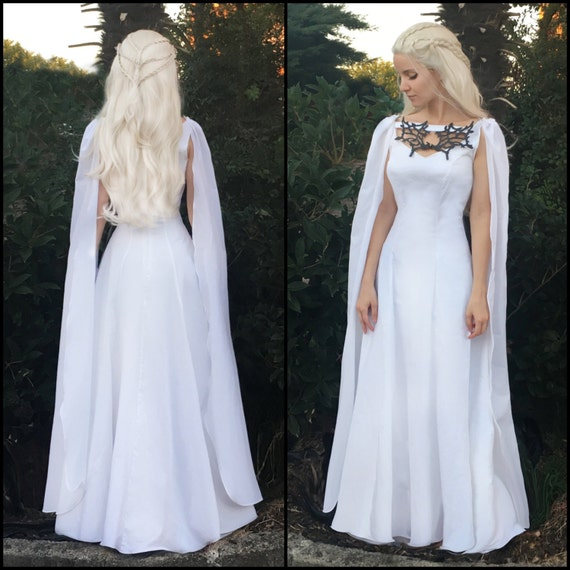 Game of Thrones White Meereen Dress Dragon Necklace Gown