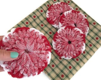 Dish Scrubbies, You Choose 2 Through 8 Peppermint Swirl Crochet Scrubbies, Scrubbies, Crochet, Dish Scrubbies, Crochet Scrubby,Dish Scrubby