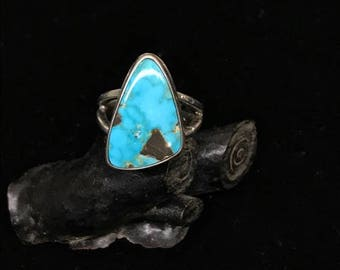Nevada Turquoise and Sterling Silver Ring, AAA Gem grade, natural , untreated, pre 1980's, old stock, rare, handmade