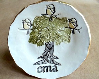 OMA with 3 Birdies Ceramic  Trinket dish Mothers day