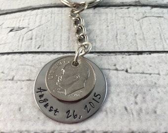 Ten year anniversary keychain or necklace.  Personalized and handstamped.