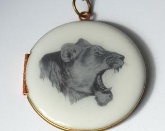 Vintage Lion Locket Leo Jewelry Skull Horns Necklace Skulls Anatomy Custom Gifts Personalize Photo Animal Book Bulls Horn Unique Present