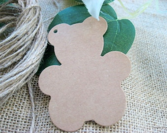 Teddy bear in kraft cardstock tags
