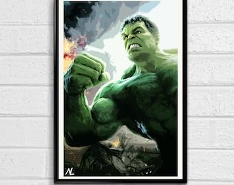 Hulk Marvel Avengers Illustration, Film, Movie, Pop Art, Superhero Poster, Comic Book Print Canvas