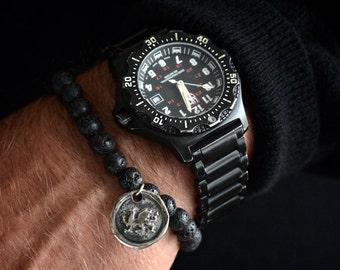 Mens Griffin Bracelet Mens Silver Bracelet Mens Beaded Bracelet Sterling Silver Mens Jewelry Mens Gift for Men Bracelet Gryphon Gift for Him