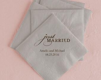 Set of 100 Wedding Napkins - Paper Wedding Napkin - Just Married - Personalized Wedding Napkins - Cocktail Wedding Napkins - Luncheon Napkin