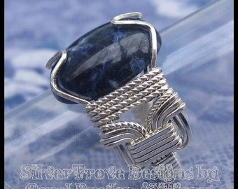 Sapphire Blue Sodalite Ring Sterling Silver Cabochon Ring Any Size Argentium Wire Wrapped