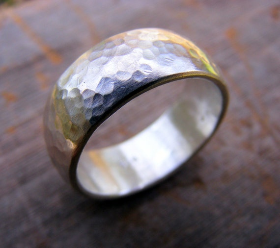 Sterling Silver Wide Wedding Band, Unisex Rustic Mens Or Womens Hammered Silver Ring Band