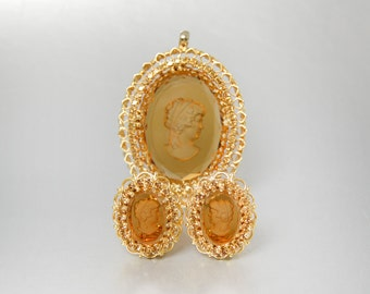 Joseph Warner Cameo Earrings and Pendant Reverse Carved Intaglio Gold Filigree Earrings Pendant Topaz Clip Earrings
