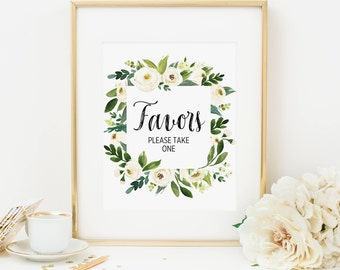 Bohemian Favors Sign Printable White Floral Favors Please Take One Table Sign Boho Wedding Reception Sign Baby Shower Decoration Bridal 298