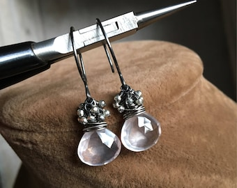 Rose Quartz and Silver Pyrite Earrings, Gemstone Cluster Earrings, Quartz Dangle Earrings, Pyrite Jewelry, Gift for Her, Valentines Gift