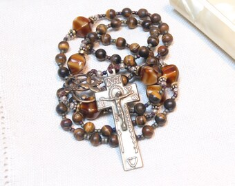 Handcrafted Artisan One-of-a-Kind Catholic Rosary Beads--Matte Tiger Eye, Bronze Irish Penal Crucifix, Sterling, Bali sterling