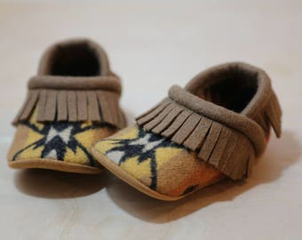 Baby Shoes Made From Pendleton® Wool -  Moccasins - Fringe Baby Booties - Wool Slippers