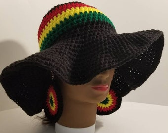 Crochet sun hat with matching earrings black, red, green, yellow summer cap black pride loc hat dreadlocks cap
