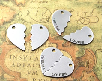 5sets THELMA and LOUISE charm silver tone Broken heart charm pendant 17x28mm ASD2257