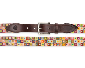 Hand-stitched Needlepoint Belt (Geometric Squares) / Custom Needlepoint Belts / Hand Embroidered Belt / Gifts for Women / Gifts for Men