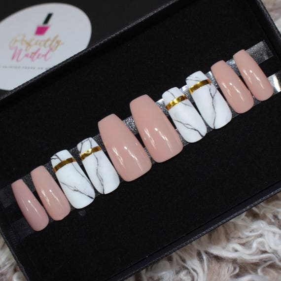 Glossy Nude and matte Marble Nails • Handpainted False Nails • Fake ...