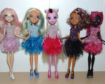 Dresses knitted with the edge, for Puppets, size, Monster High, Ever After High.