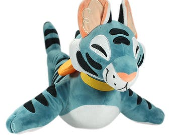 Purrmaid: Toygershark - mermaid cat large stuffed animal plush toy - blue tiger shark toyger - with original watercolor sketch by KikiDoodle
