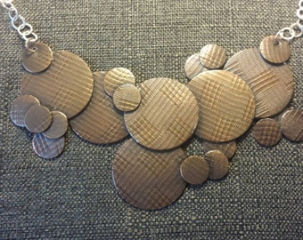 Scattered Copper Discs Necklace with Sterling Silver Chain