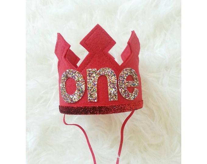Red First Birthday Felt Crown | Felt Crown, Birthday Boy Crown | Boy Birthday Hat | 1st Birthday | Photo Prop | Ready to Ship
