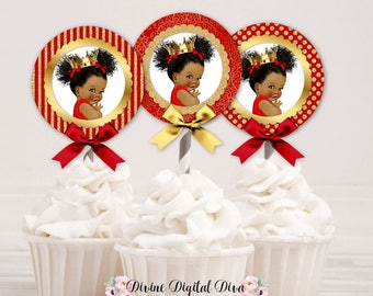 Cupcake Topper Circle Red & Gold Crown | African American Little Princess Afro Puffs | Digital Instant Download