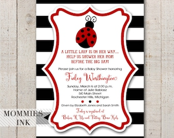Ladybug Baby Shower Invitation, Black and White Stripes, Ladybug Invitation, Ladybug Invite, Ladybug Theme, Red and Black Invite