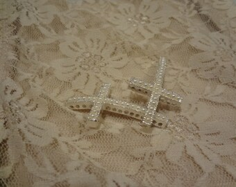 Curved Sideways Cross with Ivory Pearls Bracelet Connector