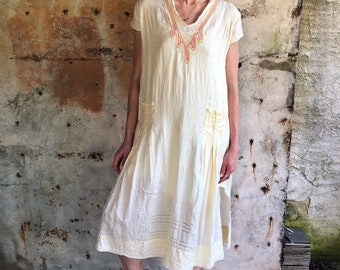 Edwardian 1910s Pale Yellow Embroidered Tunic Dress OS