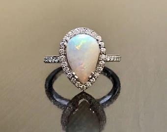 18K White Gold Opal Diamond Engagement Ring - Art Deco Diamond Opal Wedding Ring - Pear Shape Opal Diamond Ring - Halo Diamond Opal Ring