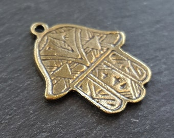 Etched Hamsa Hand of Fatima Pendant Charm - Antique Bronze Plated - 1PC