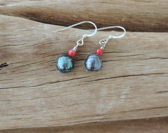 Coral and Freshwater Pearl Sterling Silver Earrings
