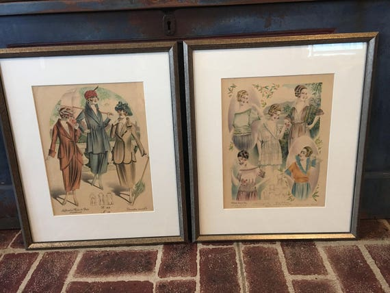 Pair of Framed Paris Ladies Fashion Plates 1930s Les Grandes Modes