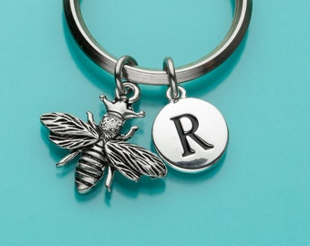 Queen Bee Keychain, Bee Key Ring, Bumble Bee Keyring, Initial Keychain, Personalized Keychain, Custom Keychain, Charm Keychain, 298
