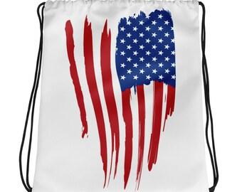 American Flag All Over Full Print Drawstring bag Backpack